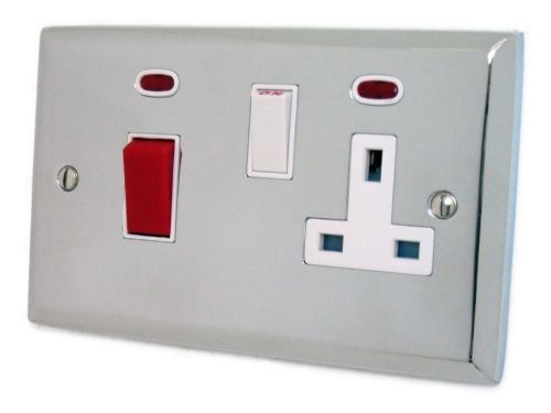 G&H SC29W Spectrum Plate Polished Chrome 45 Amp DP Cooker Switch & 13A Switched Socket